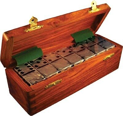 Domino Double Six 6 Silver Jumbo Tournament Professional Size Sheesham Wood Box