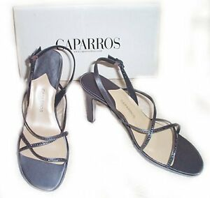 "**QUICK SALE**  Strappy Grey Silk 4"" Heel Dress Shoes ~ 8.5, 9.5"