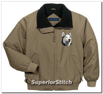 SIBERIAN HUSKY embroidered challenger jacket ANY COLOR