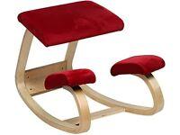 Kneeling Chair Ergonomic Red Velor Padded *nearly new*