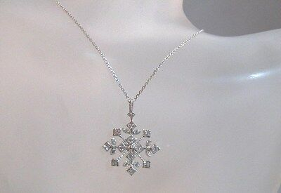 Rhodium Snowflake Pendant - Sterling silver with rhodium cz snowflake pendant necklace