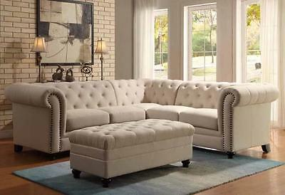 TRADITIONAL BUTTON TUFTED OATMEAL LINEN BLEND FABRIC SECTIONAL OTTOMAN FURNITURE
