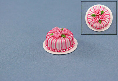 Dollhouse Miniature Beautifully Decorated Bakery Cake with Pink Roses #SP48
