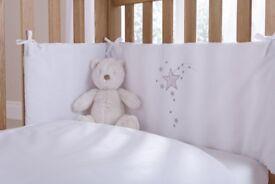 Brand New Claire du Lune, 2 piece White Starburst Cot Bedding