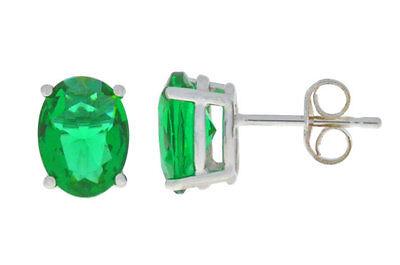 (14Kt White Gold Emerald Oval 6x4mm Stud Earrings)