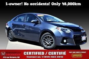 2014 Toyota Corolla S 1-Owner! No Accident! Bluetooth! Only 48k