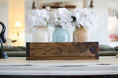 ( Mason Jar Decor boho industrial distressed chic wedding handmade Set 3x Quart)
