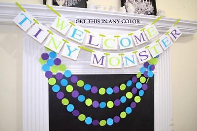 Welcome Tiny Monster baby shower banner, Monster Inc inspired Baby shower banner