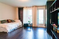 studio in front of canal lachine with private terrace & parking