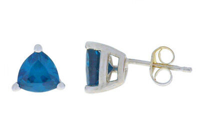2 Ct London Blue Topaz Trillion 6mm Stud Earrings White Gold (Blue Topaz Trillion Stud)