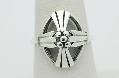Sterling Silver .925 Stylish Artsy Bead Ribbed Fashion Ring Size 9 3.6g i958