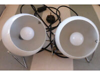 IKEA vintage white metal lamps with LEDs