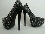 Ladies High Heel Diamante Platform