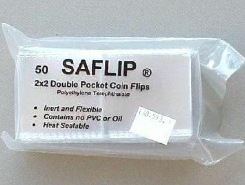 Saflip 2x2 Double Pocket Coin Flips Pack of 50 Saflips New Holders  Museum Grade