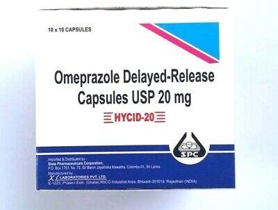 Omeprazole 20 mg OTC 100 ct Capsules Acid Re flux Heart Burn Reducer (Burn Treatment)
