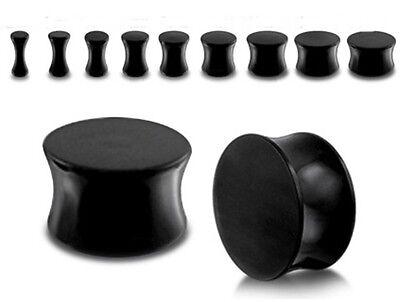 Black Ear Tunnel Acrylic Double Flare Ear Plug Stretcher