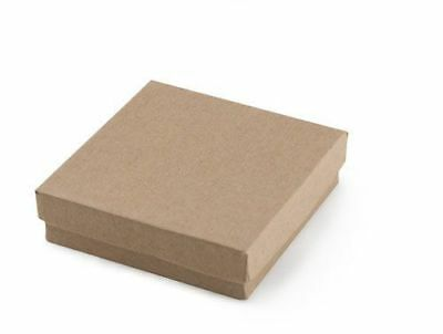 Jewelry Gift Boxes 100 Kraft Cotton Filled Lidded 33 Tan 3 X 3 X 1 High