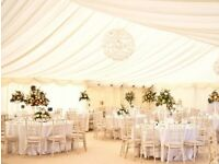 6 x 12m MARQUEE WITH WALL, CEILING LINING, CARPET AND LIGHTING - HIRE ONLY KENT