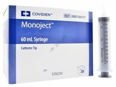 Covidien Monoject 60 Ml Catheter Tip Sterile Syringe - Box Of 20 New - Free Ship