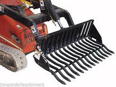 Rock Bucket For Mini Skid Steer Loaders 42 Width1.18 Tine Width Fits Most