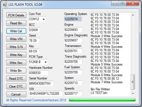 ls1 pcm flash tool vt vx vy vz v8 5 7 commodore engine program