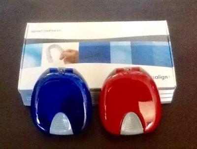 Invisalign Vivera Original Retainer Storage Case Box Set 2 Authentic Blue Red