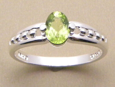 (1.0ctw Genuine Peridot Stone Sterling Silver Ring #10 New!!)