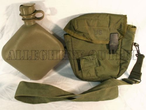 CANTEEN 2 QT QUART & 2QT OD COVER CARRIER & STRAP US Military Army VGC
