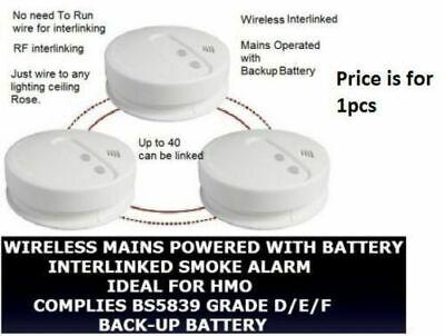 RF Link Wireless Smoke heat Alarm Radio Interlinked Battery HMO LET BS5839 fire