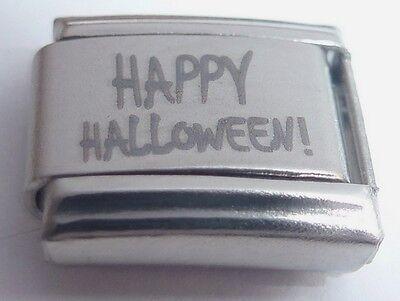HAPPY HALLOWEEN Italian Charm N130 fits Classic Starter Bracelets 9mm Spooky (Happy Halloween N)