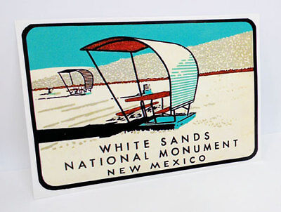 White Sands New Mexico Vintage Style Travel Decal / Vinyl Sticker, Luggage Label