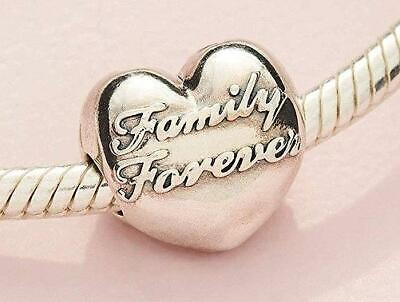 💕Authentic PANDORA 🎄 SILVER CHARM/BEAD #796204 Family Forever clip heart love Forever Heart Bead