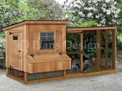 Chicken Coop Hen House Plans With Kennel Run 2 In 1 Combo Design 60410ml