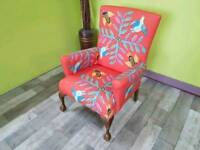 Designer Orange Fabric Chair With Unique Pattern - Can Deliver For £19