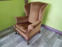 Brown Wingback Armchair / Fireside Chair For Reupholstery Project - Can Deliver For £19