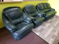 Green Faux Leather Sofa Suite - Can Deliver For £19