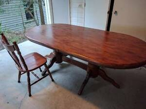 Wooden oval dining table and 6 chairs Red Hill Brisbane North West Preview