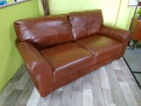 Brown Real Leather Sofa - Can Deliver For £19