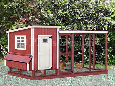 2-in-1 Chicken Coop Plans With Kennel Hen House Design 50410lm