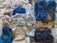 bundle of baby boy clothes, size 0-3 months