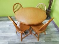 Round Wooden Dining Table & 4 Chairs - Can Deliver For £19