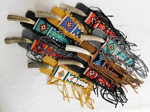 "11"" Native American Algonquin Made & Designed Beaded Fringed Sheath & Knife"