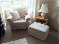 VGC 4 PIECE BEIGE SUITE COMPRISING OF 3 & 2 SEATER SOFAS, 1 ARMCHAIR & 1 LARGE FOOT STOOL / POUFFE