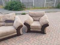 Dfs Rufus mocha fabric 3 piece suite can deliver