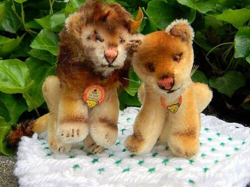 "STEIFF LEO & LEA ~ 4"" LIONS ~ 2 MOHAIR STUFFED ANIMALS ~ Excellent condition"