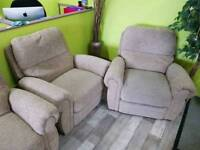 Beige Recliners Armchairs - Can Deliver For £19