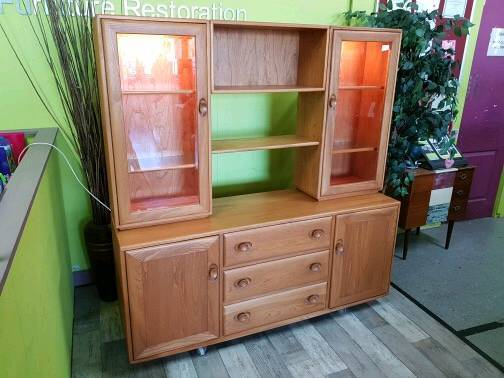 Ercol Elm Dresser Sideboard With Drawers Cupoards Display Cabinet