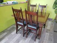 Solid Oak Extendable Dining Table & Set Of 4 Chairs - Can Deliver For £19