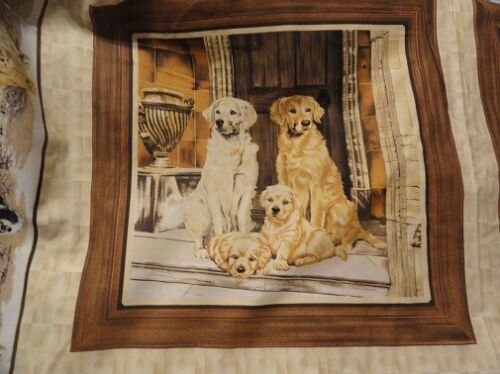 """Fabric Panel Golden Retriever family by Robert May 19"""" x 18.5"""" 100% Cotton*"""
