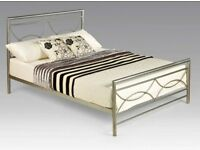 4 FT 6 DOUBLE METAL BED IN SILVER NICE QUALITY AND AMAZING PRICE BRAND NEW BOXED £59